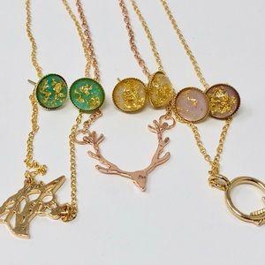 🎉SALE🎉NWOT Jewelry Gold Flake Rosey Bundle